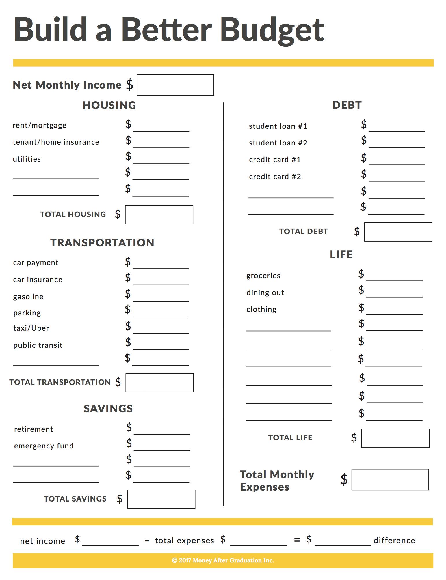 Free Budget Workbook • Money After Graduation