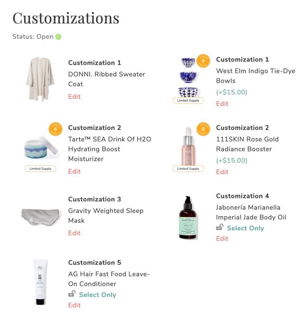 FabFitFun Spring 2020 Customizations